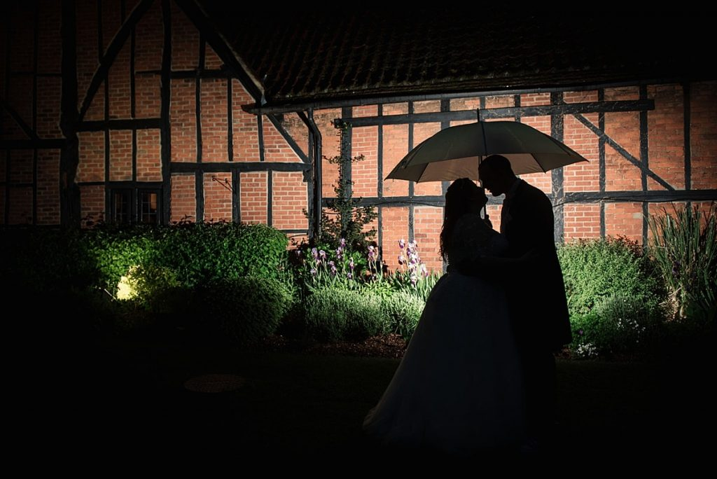 Silhouette of Bride and Groom at Bedford Barns Hotel taken by Becky Harley Photography