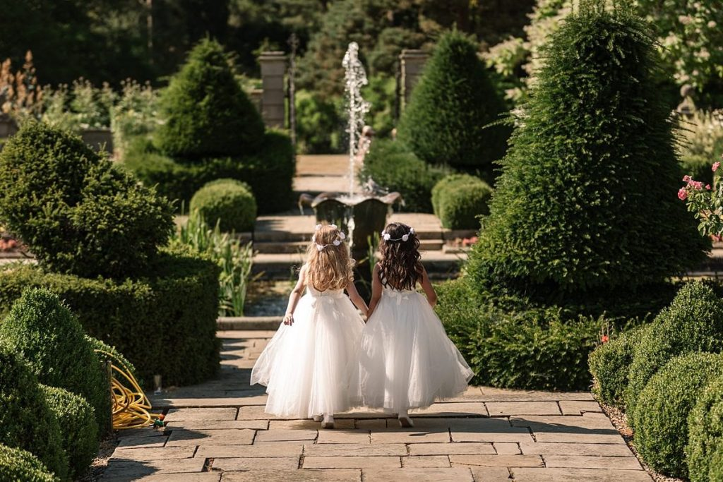 Flower girls at summer Fanhams Hall Wedding taken by Becky Harley Photography