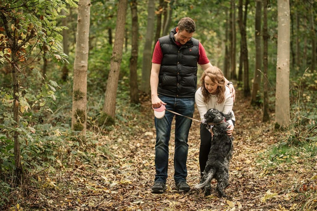 Couple and dog in Hatfield House engagement shoot taken by Becky Harley Photography