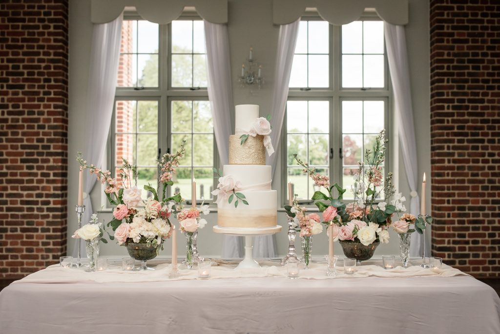 Luxury wedding cake by Meadowsweet Cakes in Offley Place, taken by Becky Harley Photography