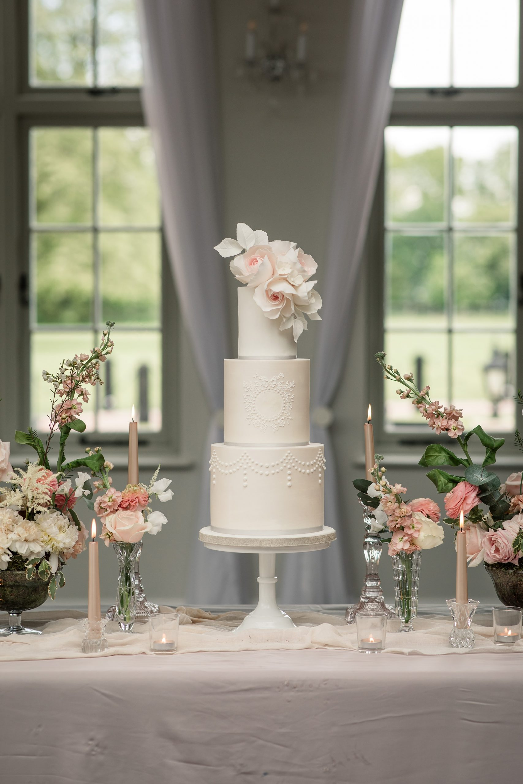 Luxury wedding cake by Meadowsweet Cakes at Offley Place, taken by Becky Harley Photography