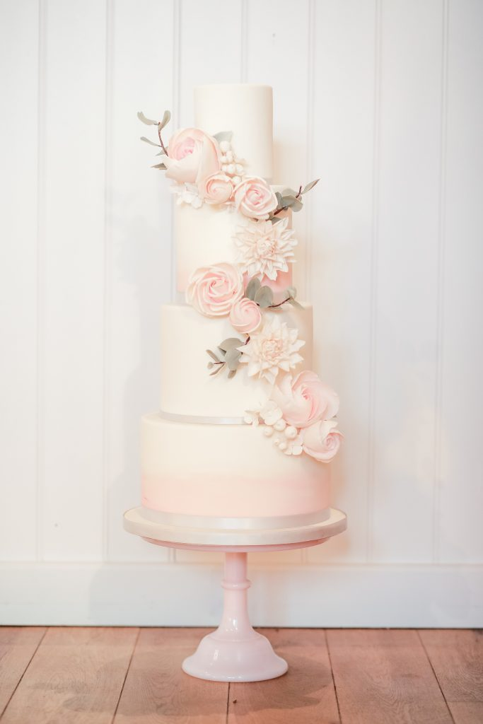 Luxury wedding cake by Meadowsweet Cakes, taken by Becky Harley Photography