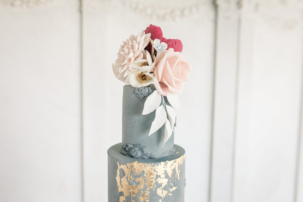 Hand made floral details on luxury wedding cake by Meadowsweet Cakes, taken by Becky Harley Photography