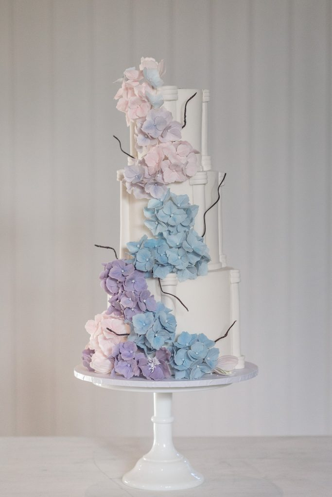 Luxury Wedding cake with handmade icing flowers by Meadowsweet Cakes, taken by Becky Harley Photography