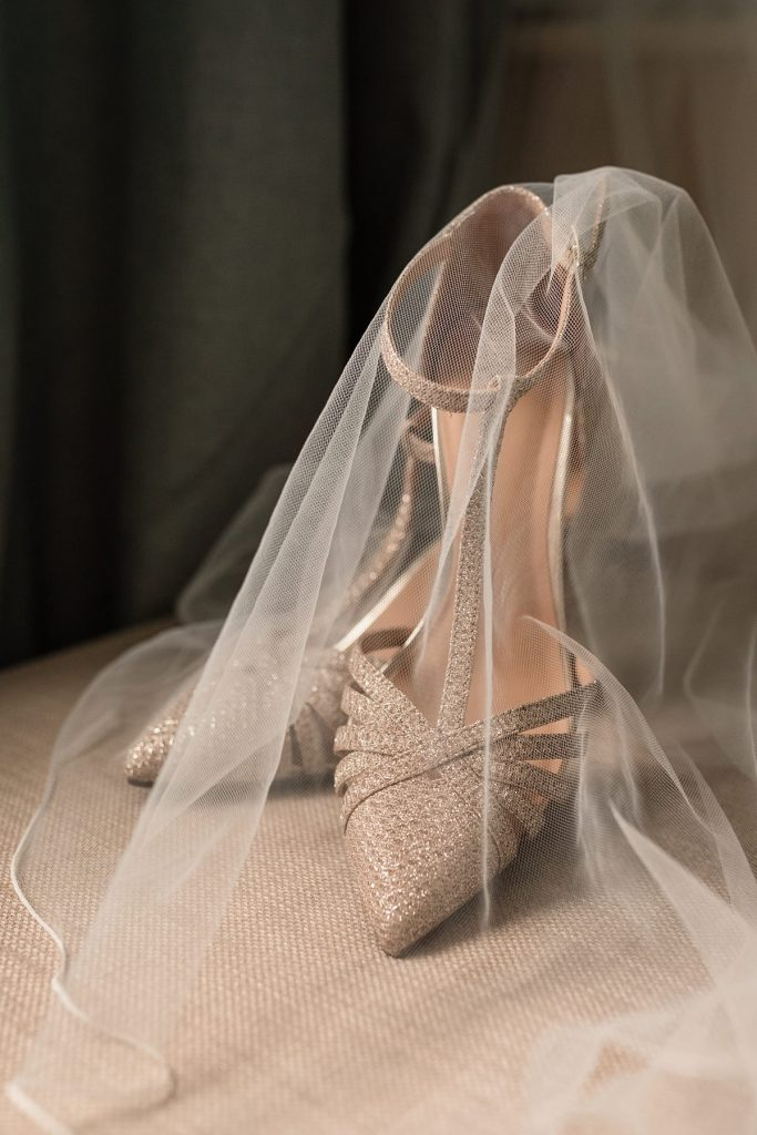 Shoes and veil at Dodmoor House Wedding, taken by Becky Harley Photography