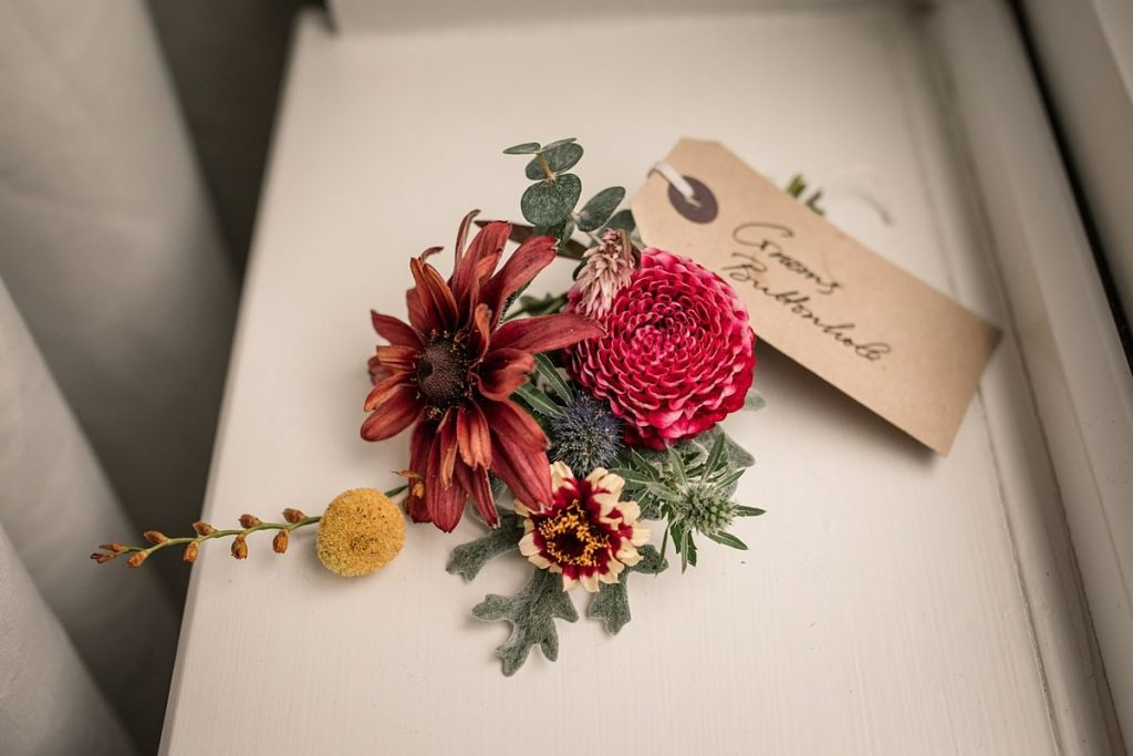 Grooms buttonhole by Bare Blooms at Dodmoor House Wedding, taken by Becky Harley Photography