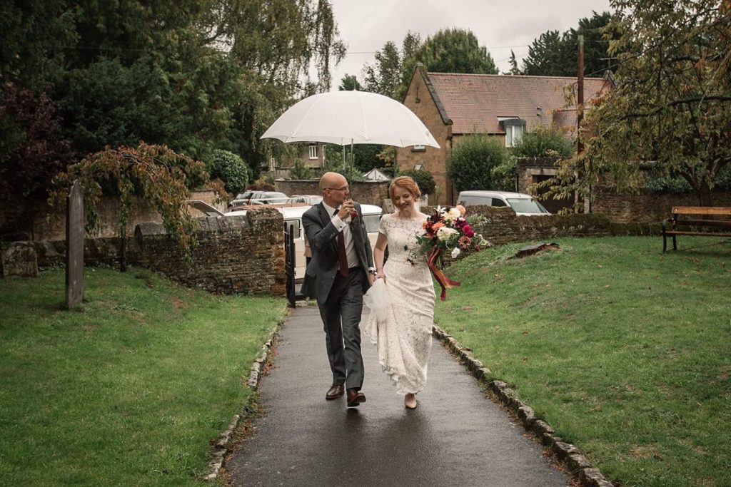 Bride and father walking to church at Dodmoor House Wedding, taken by Becky Harley Photography