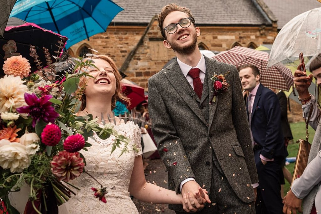 Confetti throw at church at Dodmoor House Wedding, taken by Becky Harley Photography