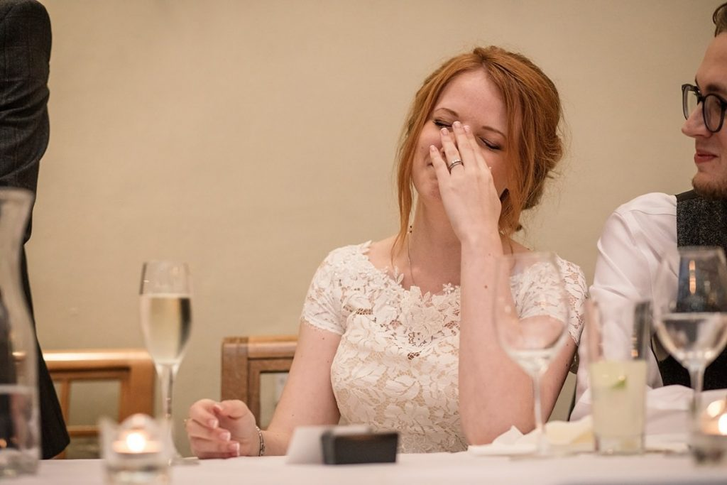 Bride speech reaction at Dodmoor House Wedding, taken by Becky Harley Photography