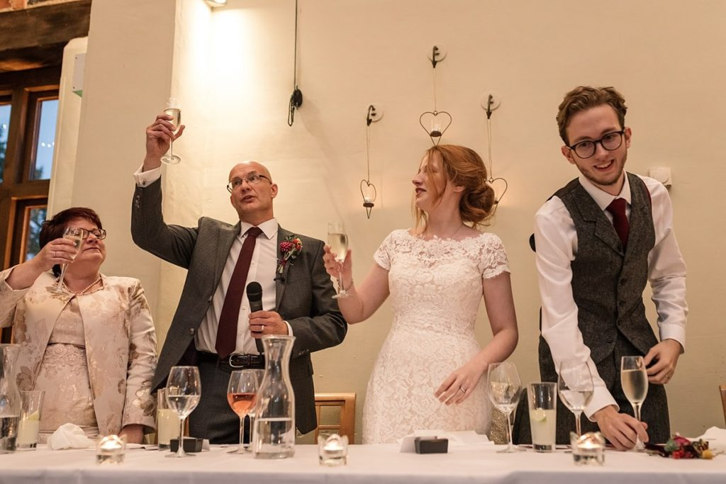 Wedding toast at Dodmoor House Wedding, taken by Becky Harley Photography