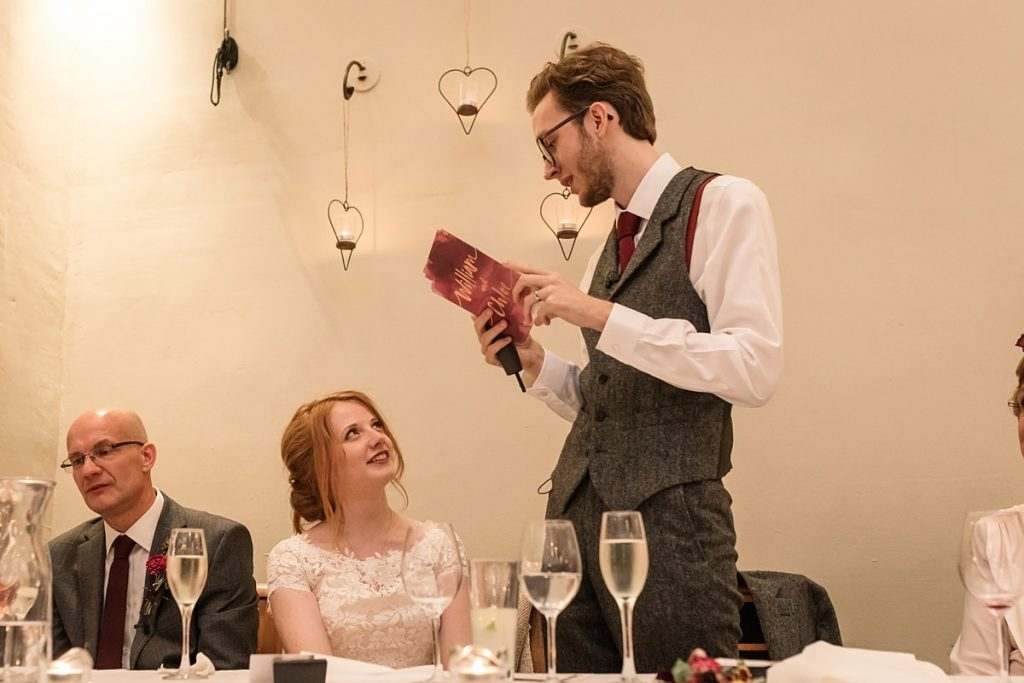 Groom speech at Dodmoor House Wedding, taken by Becky Harley Photography