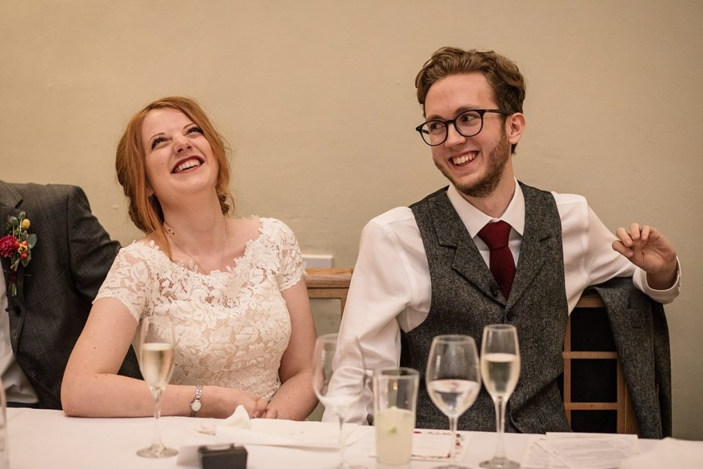 Bride and Groom laughing at Dodmoor House Wedding, taken by Becky Harley Photography