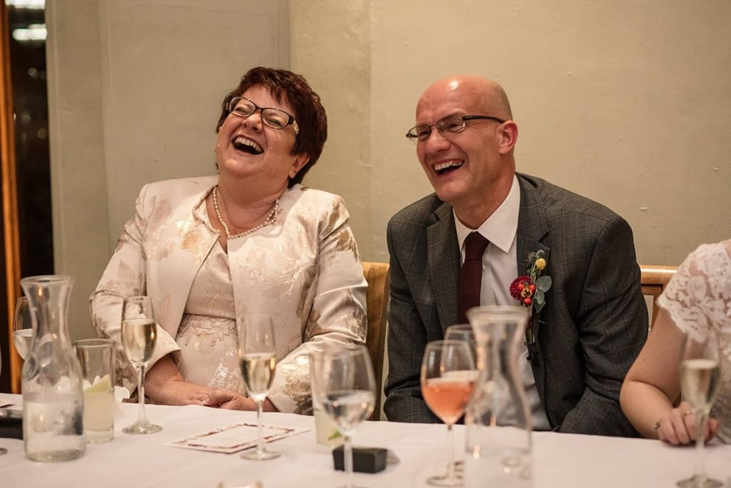 Brides parents laughing at Dodmoor House Wedding, taken by Becky Harley Photography