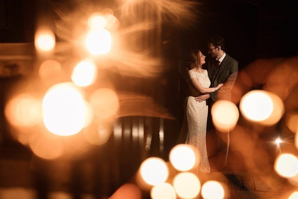 Bride and Groom evening portrait with lights at Dodmoor House Wedding, taken by Becky Harley Photography