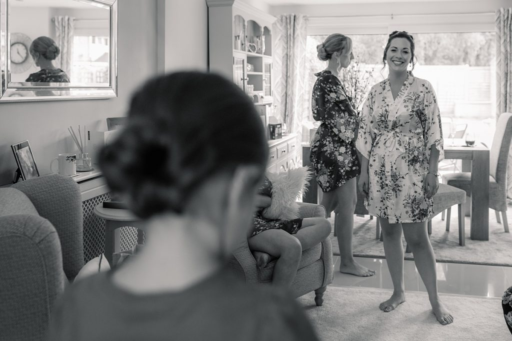 bridal preparations before Offley Place Wedding, taken by Becky Harley Photography