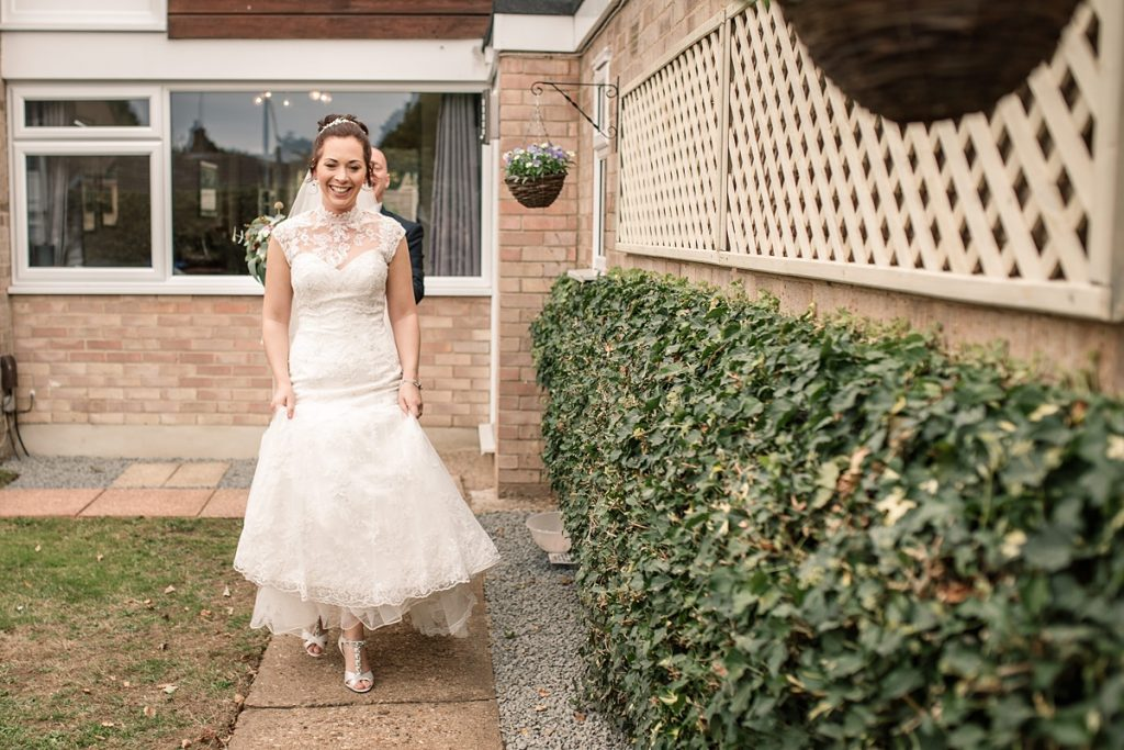Bride leaving for wedding ceremony at Offley Place Wedding, taken by Becky Harley Photography