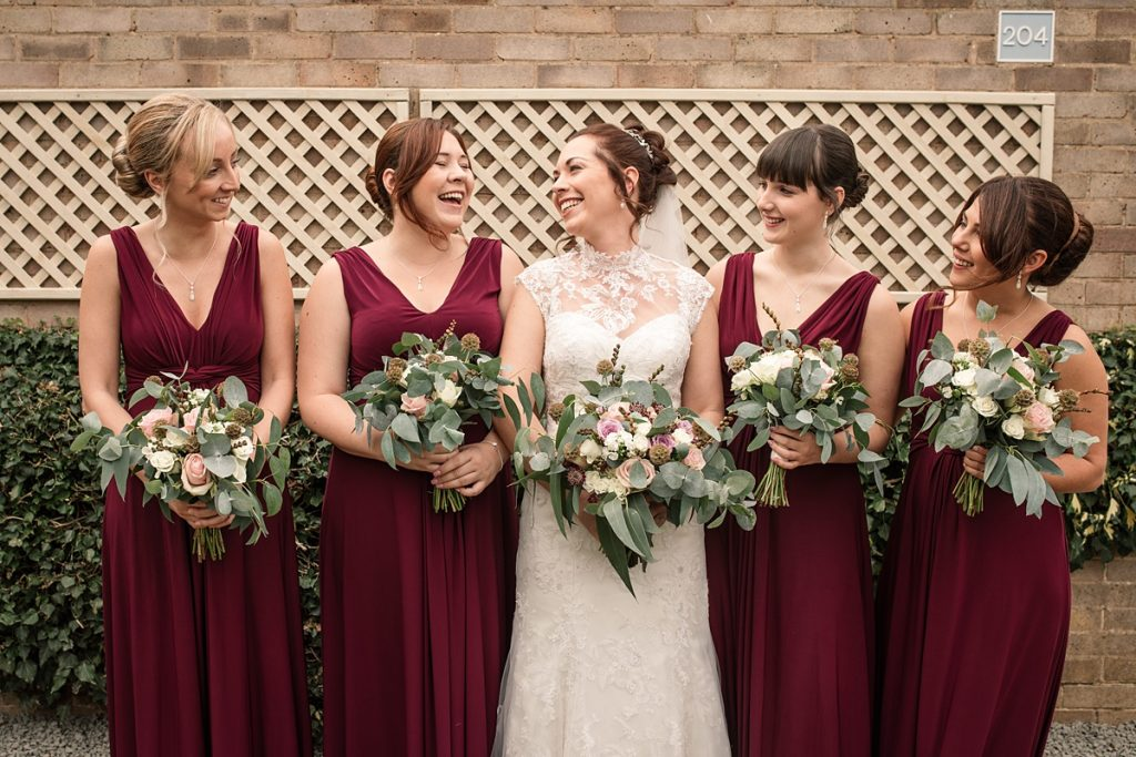 Bride and bridesmaids before Offley Place Wedding, taken by Becky Harley Photography