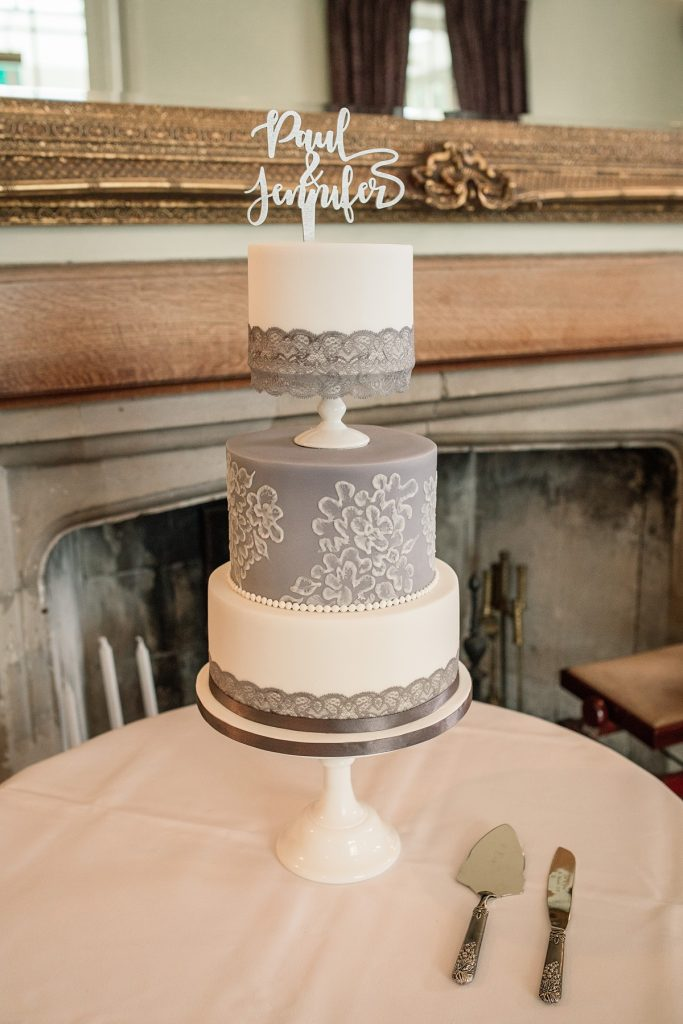 purple and white wedding cake at Offley Place Wedding, taken by Becky Harley Photography