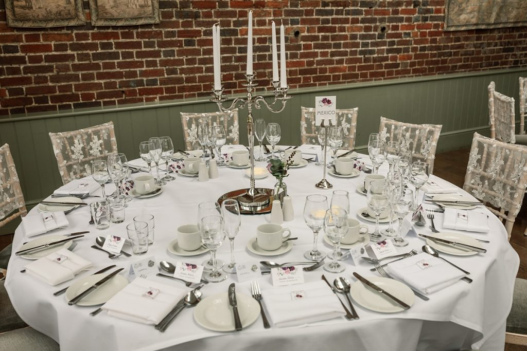 table setting in the conservatory at Offley Place Wedding, taken by Becky Harley Photography
