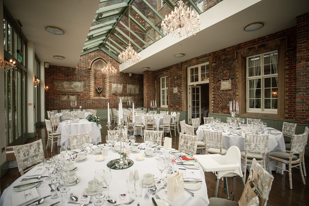 The conservatory set for wedding reception at Offley Place Wedding, taken by Becky Harley Photography
