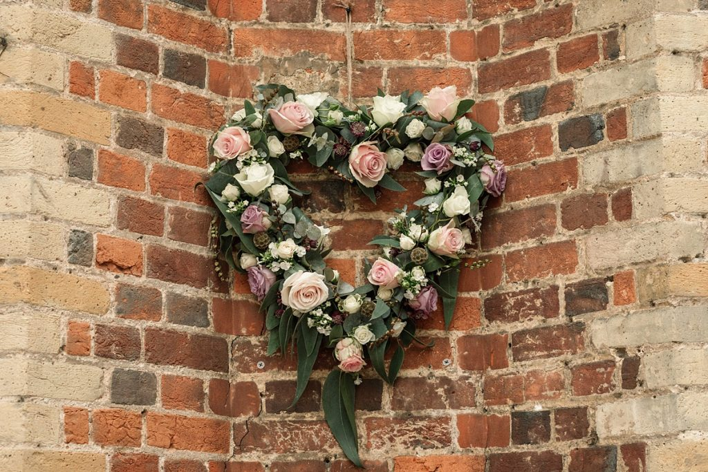 floral heart at Offley Place Wedding, taken by Becky Harley Photography