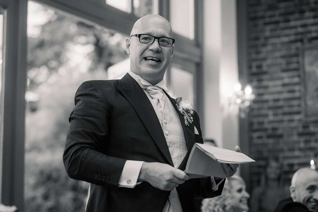 Father of the bride speaking Offley Place Wedding, taken by Becky Harley Photography
