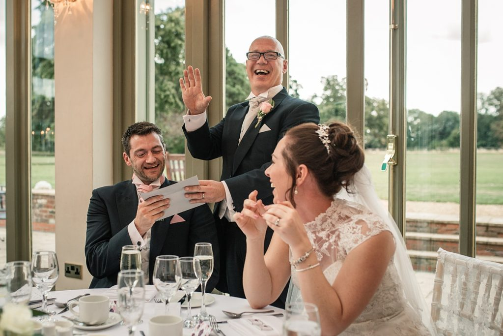 Father of the bride speech at Offley Place Wedding, taken by Becky Harley Photography