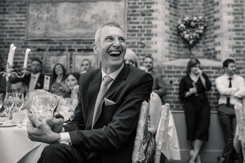 guest reaction to speeches at Offley Place Wedding, taken by Becky Harley Photography