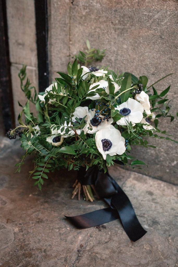 Monochrome anemone wedding boquet at Oxford Town Hall wedding taken by Becky Harley Photography