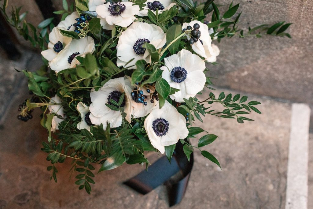 Monochrome anemone wedding bouquet at Oxford Town Hall wedding taken by Becky Harley Photography