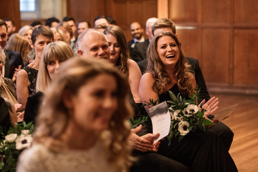 guest reactions at Oxford Town Hall wedding taken by Becky Harley Photography