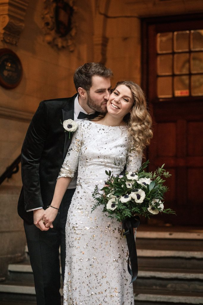 bride and groom portrait at Oxford Town Hall wedding taken by Becky Harley Photography