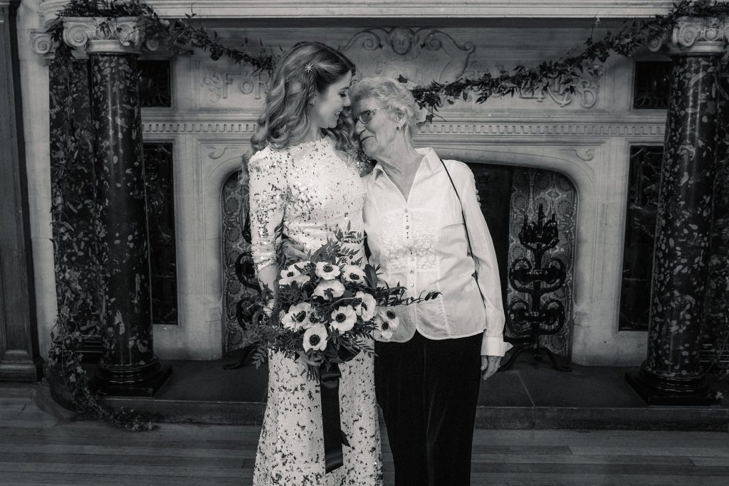 bride with grandmother at Oxford Town Hall wedding taken by Becky Harley Photography