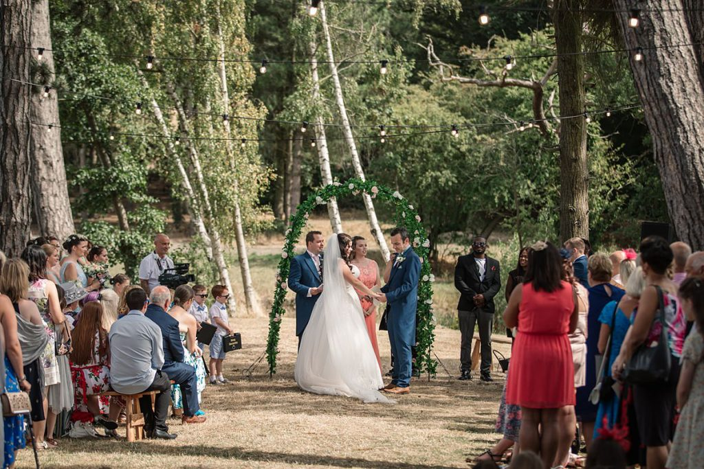 Outdoor wedding ceremony at Brook Farm in Cuffley, taken by Becky Harley Photography