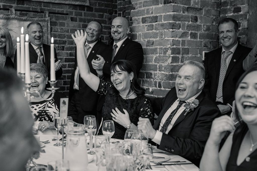Guest reactions during speeches at Offley Place taken by Becky Harley Photography