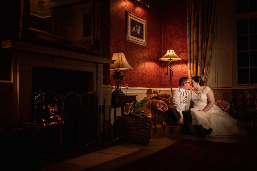 Evening photo of bride and groom at Offley Place taken by Becky Harley Photography