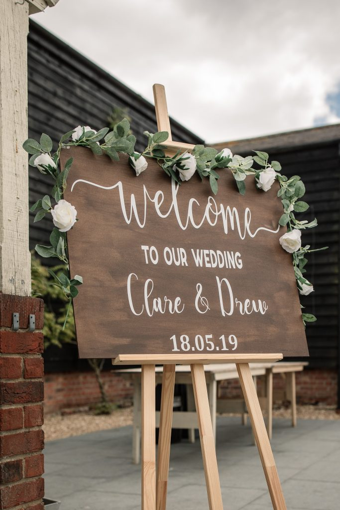 Welcome sign at relaxed, rustic Milling Barn Wedding, taken by Becky Harley Photography