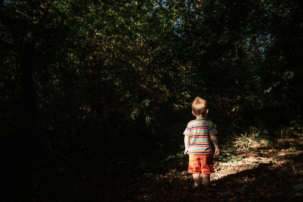 Boy standing in the woods at St Albans Family Photo Shoot taken by Becky Harley Photography