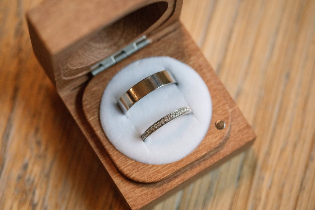 Ethical Jewellery Cred Jewellery Aries Eternity ring and White Gold 5mm Flat Court taken by Becky Harley Photography