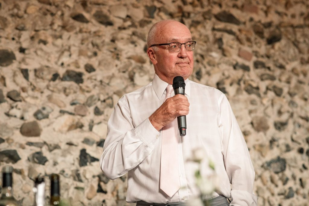 Father of the Bride speaking at Granary Estates Wedding taken by Becky Harley Photography