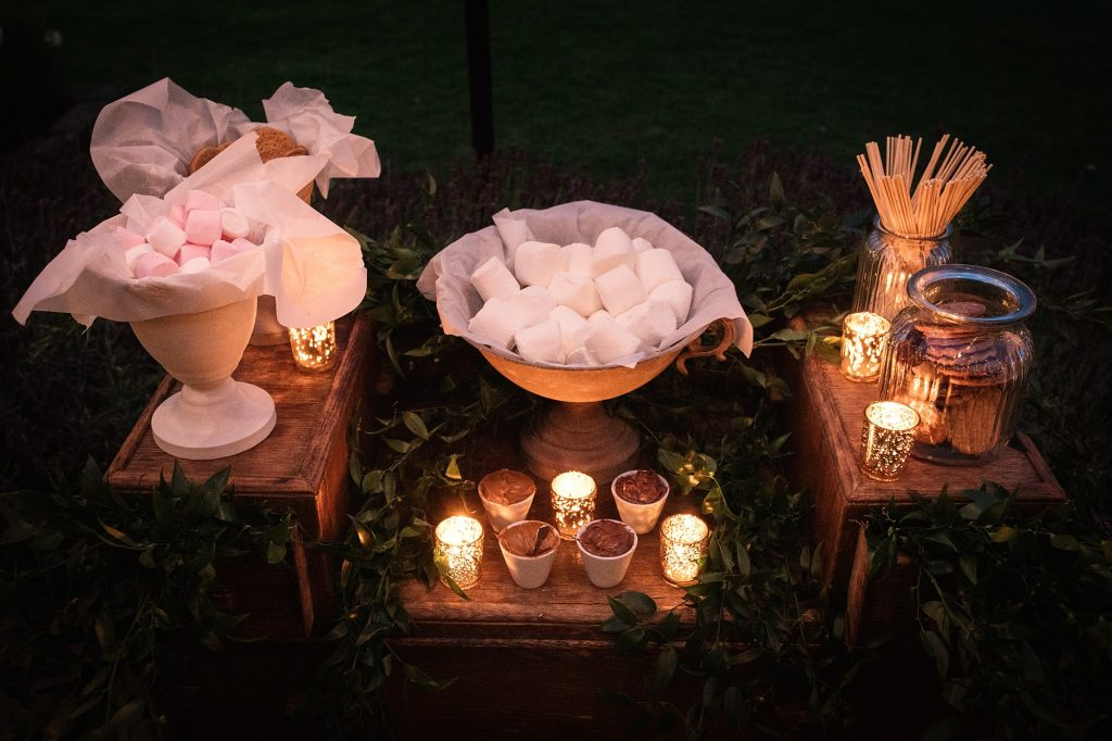 Smores station at Granary Estates Wedding taken by Becky Harley Photography
