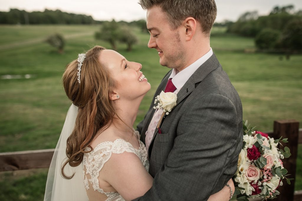 Bride and Groom portrait at springtime coltsfoot wedding taken by Becky Harley Photography