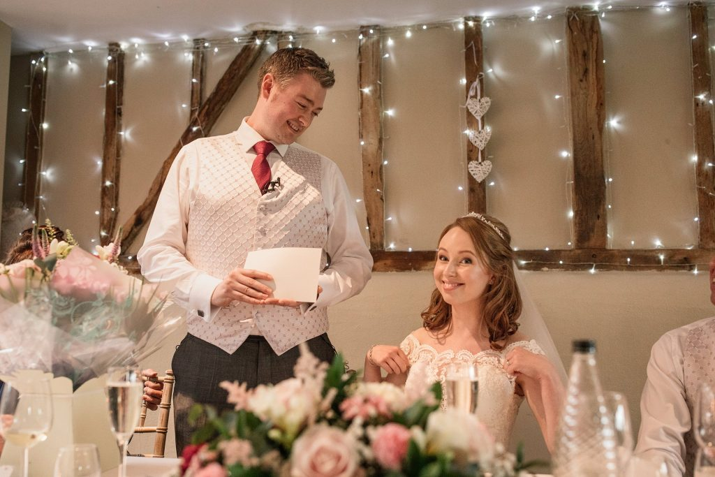 Groom giving a speech at springtime coltsfoot wedding taken by Becky Harley Photography