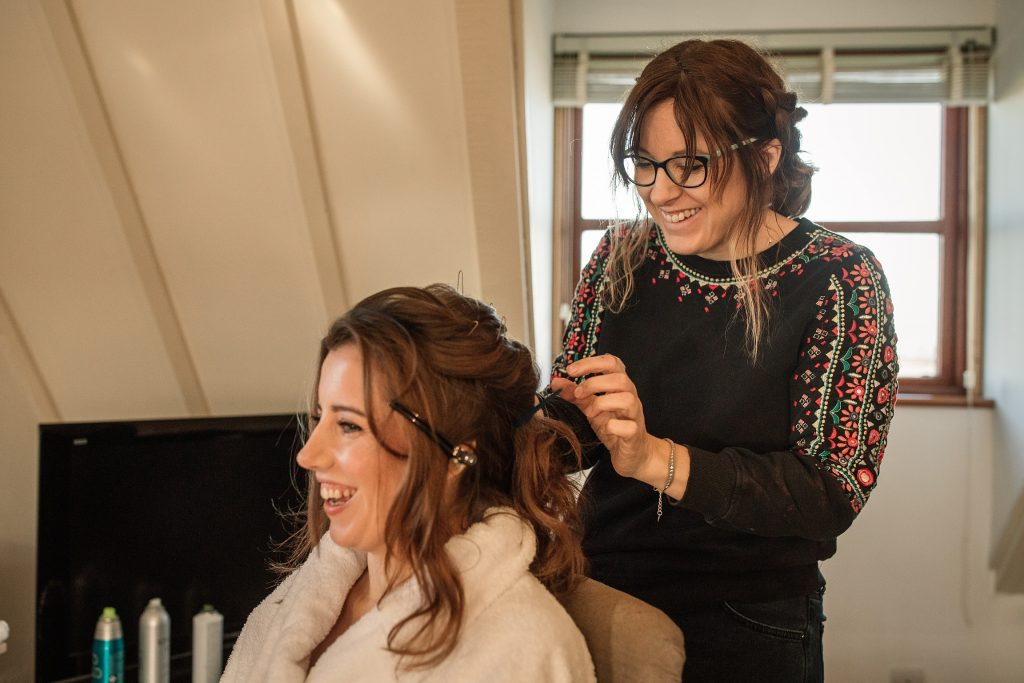 Barberella Bridal Hair doing bride's hair at winter wedding inspiration shoot taken by Becky Harley Photography