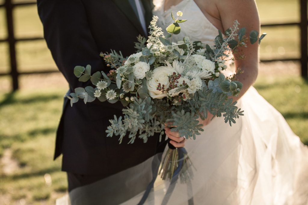 Flowers styled by Queen and Eden at winter wedding inspiration shoot taken by Becky Harley Photography