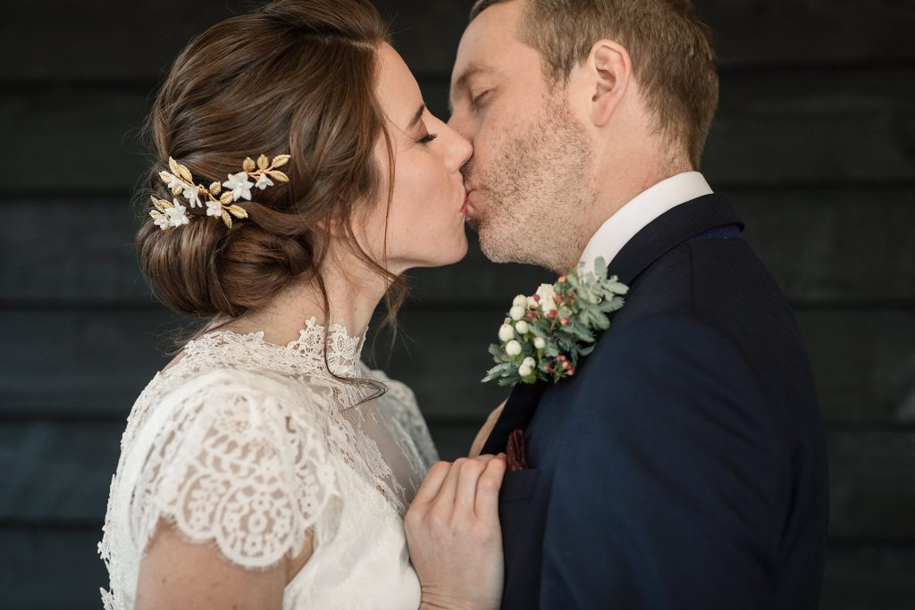 Bride and Groom kissing at winter wedding inspiration shoot taken by Becky Harley Photography