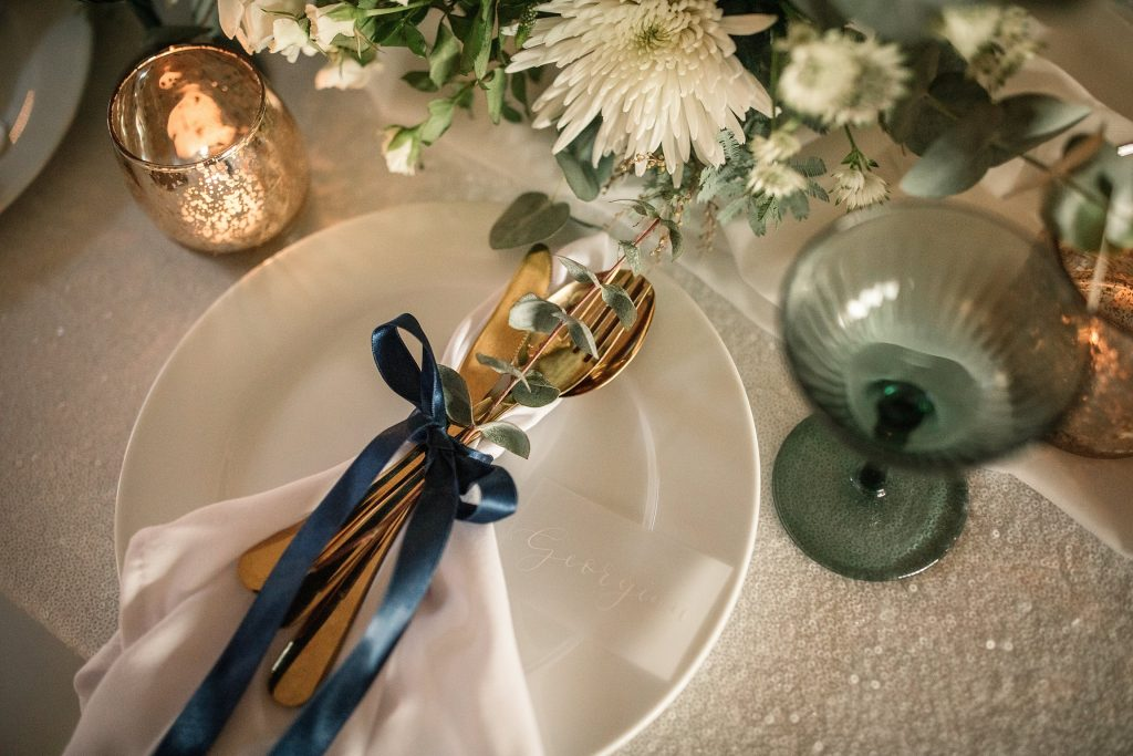 Table details by Queen and Eden and Olive and Millicent at winter wedding inspiration shoot taken by Becky Harley Photography