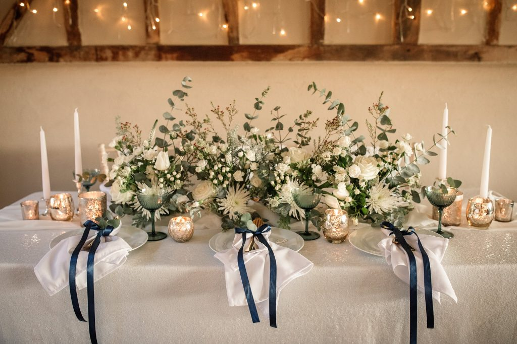 floral installation at winter wedding inspiration shoot taken by Becky Harley Photography