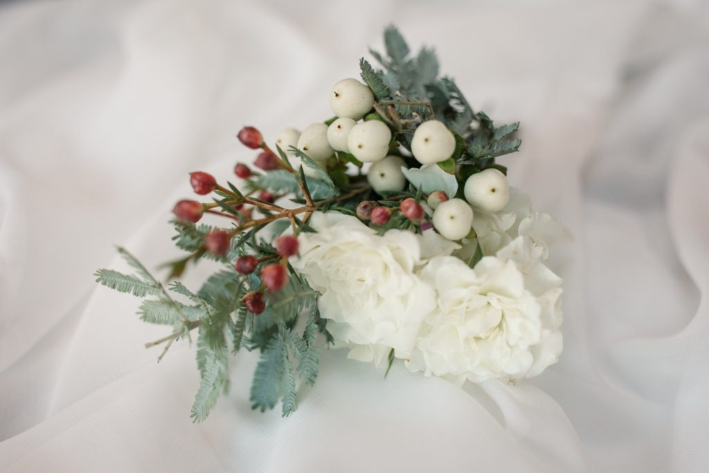 grooms buttonhole at winter wedding inspiration shoot taken by Becky Harley Photography
