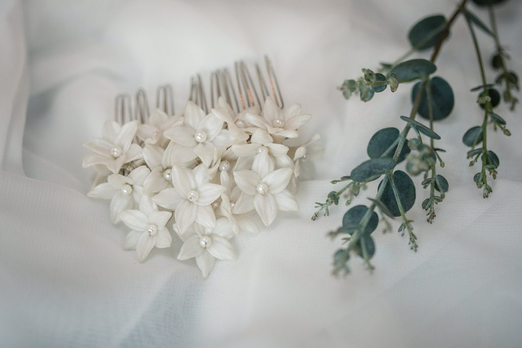 bridal hair accessories at winter wedding inspiration shoot taken by Becky Harley Photography
